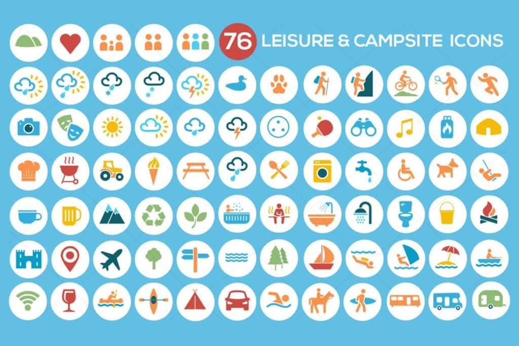 Camping, Leisure & Tourism Icon Set