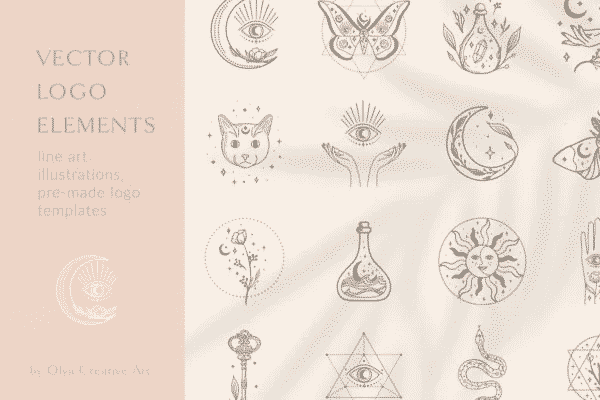 Esoteric Eyes – Logo Elements Vector Illustrations