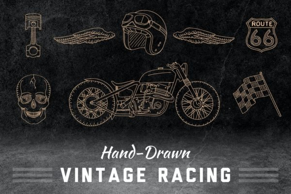 Vintage hand drawn racing elements