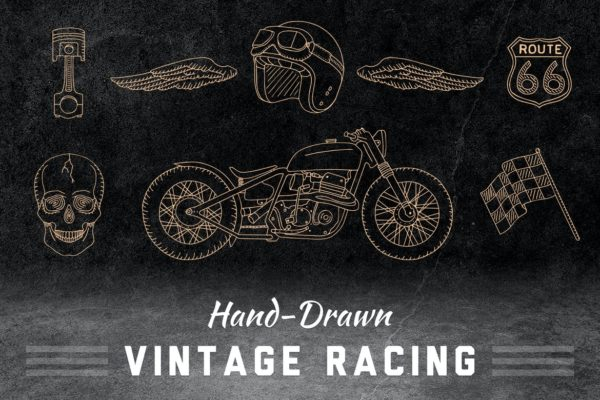Vintage hand drawn racing elements