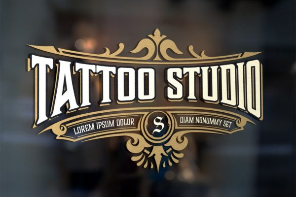 Vintage tattoo logo with golden elements