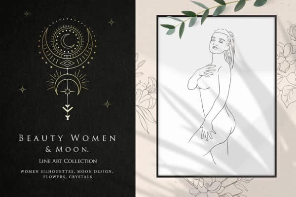Women and Moon. Floral Logo, Tattoo, Cards, Stickers