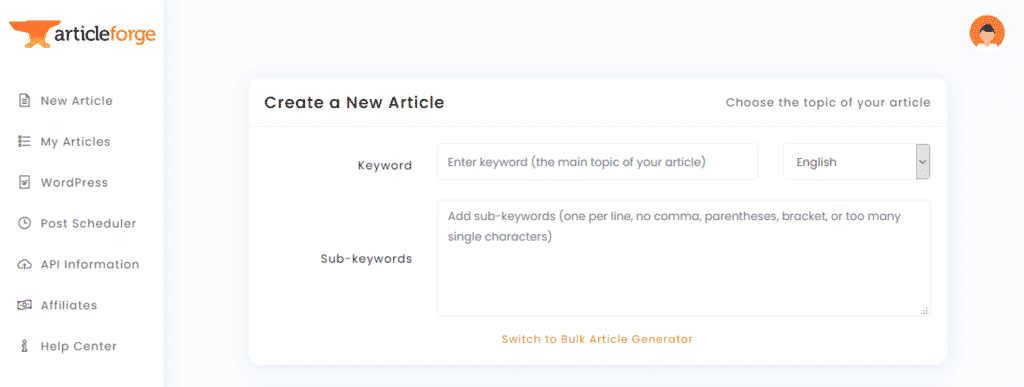 Article Forge AI-based text generation tool for social media marketing