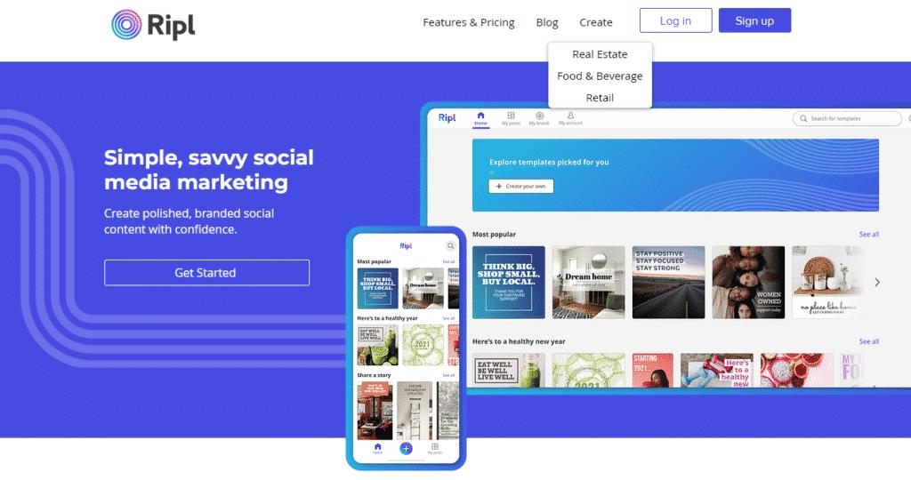 Ripl content creation tool for social media marketing