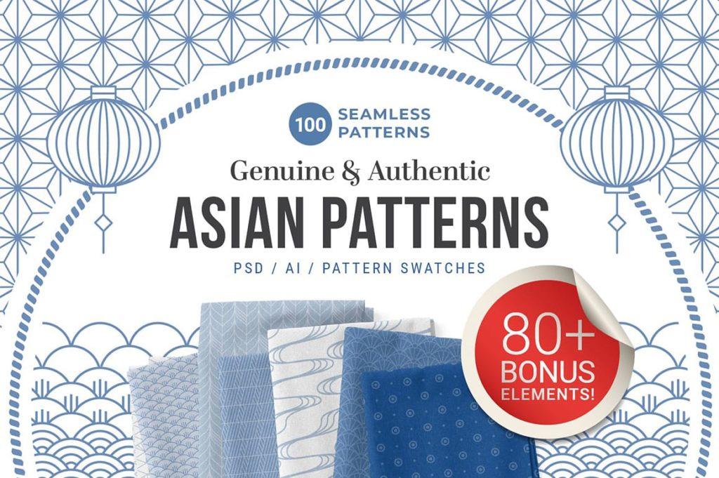100 Asian Patterns + Bonus Elements