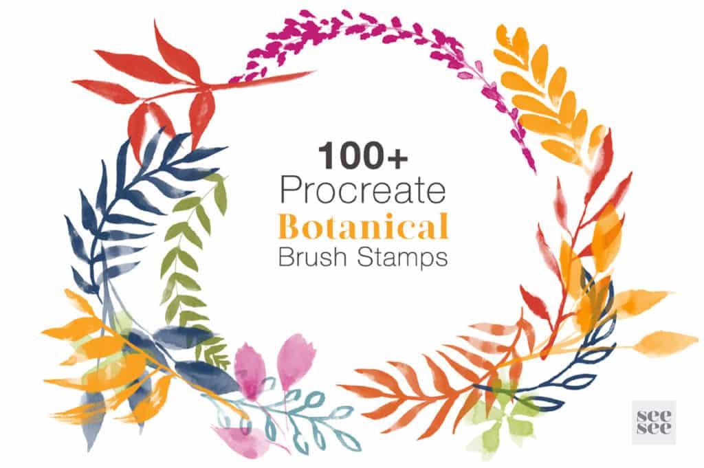 100 + Botanical Procreate Brush Stamps