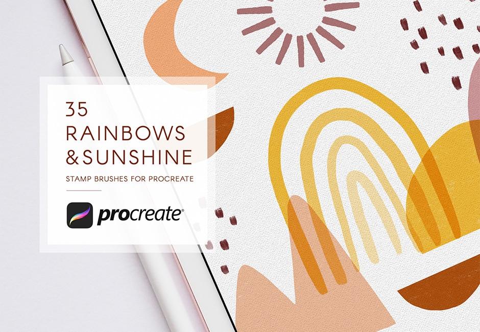 Abstract Rainbows & Sunshine Procreate Stamps Brush Set