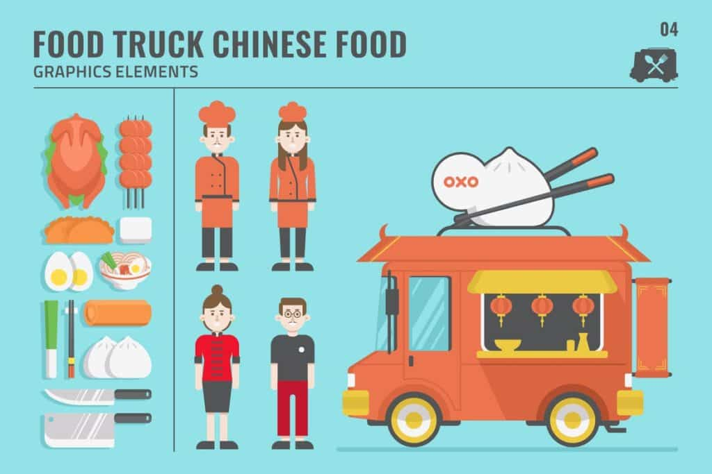 Amazing Chinese Food Truck Graphic Elements Set