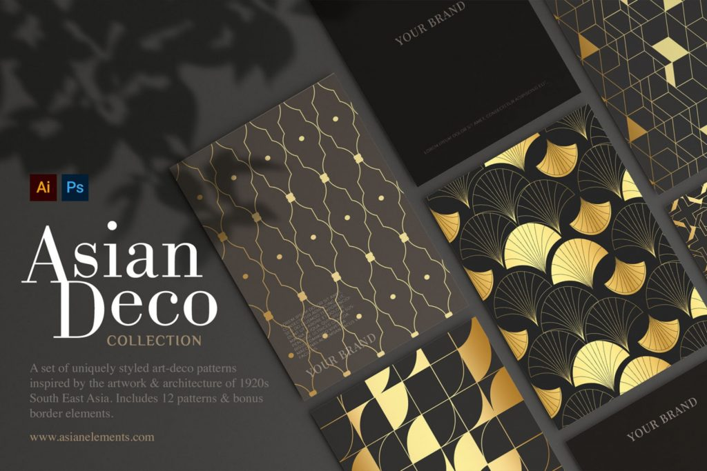 Asian Deco- Seamless Art Deco Patterns Collection