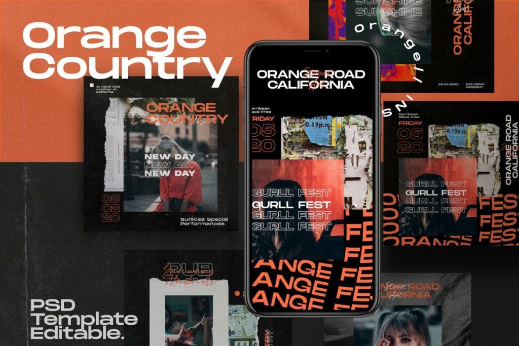 Country Orange - Instagram Template + Stories