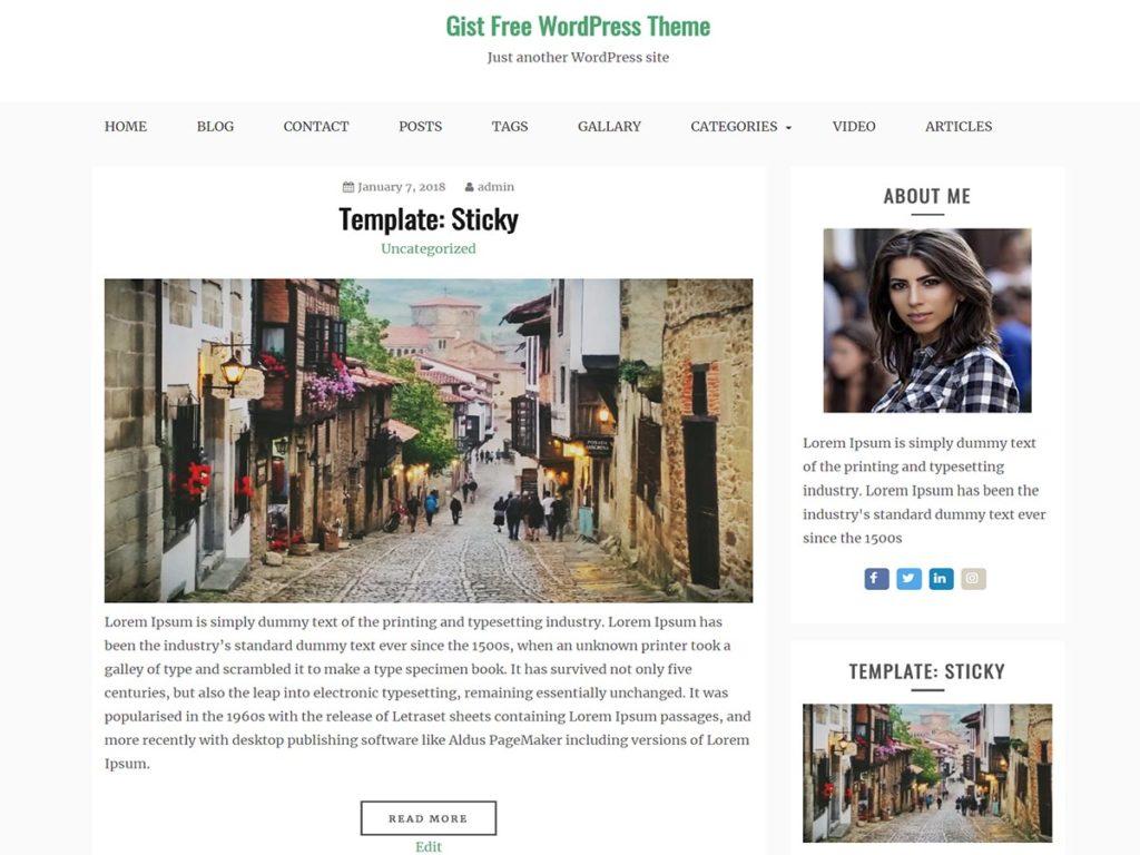 Gist - Clean and Minimal WordPress Theme