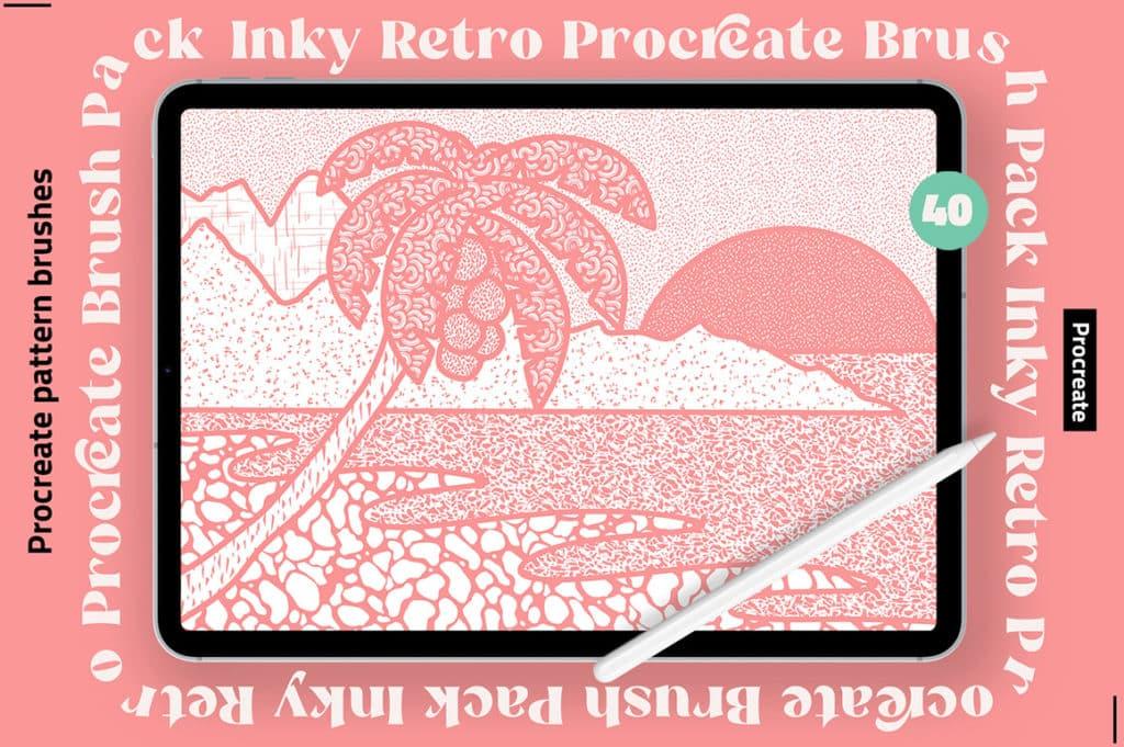 Inky Retro Procreate Pattern Brush Set