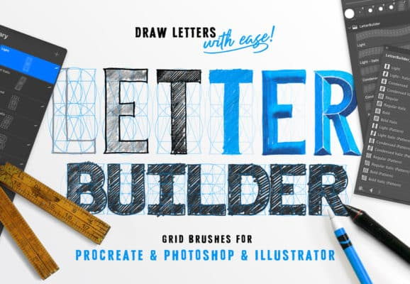 Letter Builder for Procreate. Affinity and Photoshop