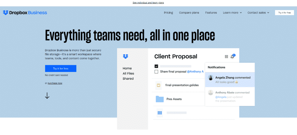 Dropbox's compelling homepage