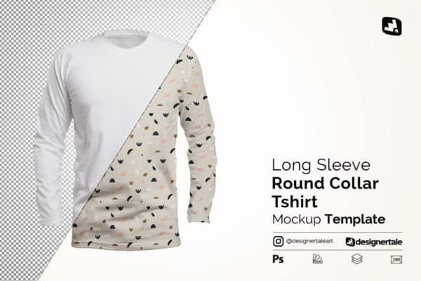 Long Sleeve Round Neck Tshirt Mockup