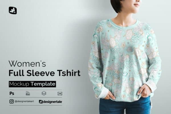 Womens Full Sleeve T-shirt Mockup