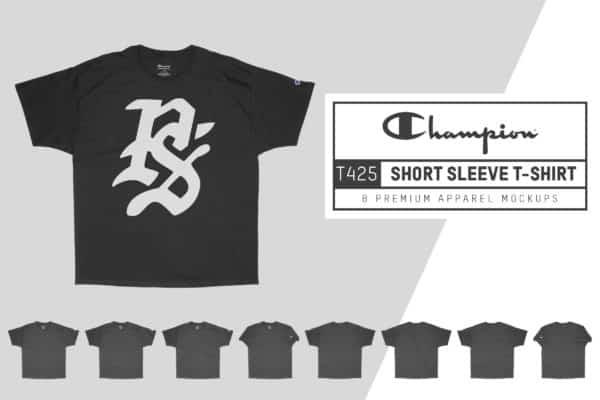 Champion T425 Short Sleeve T-Shirt Mockups
