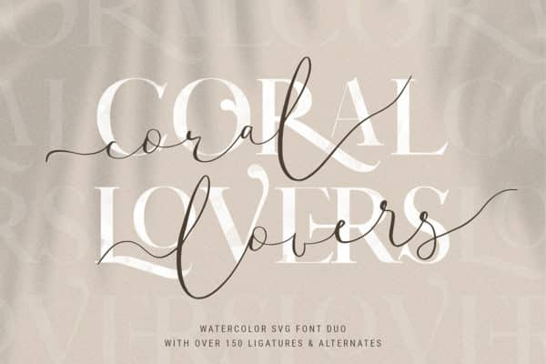 Coral Lovers SVG Watercolor Font Duo Wedding Invitation Font