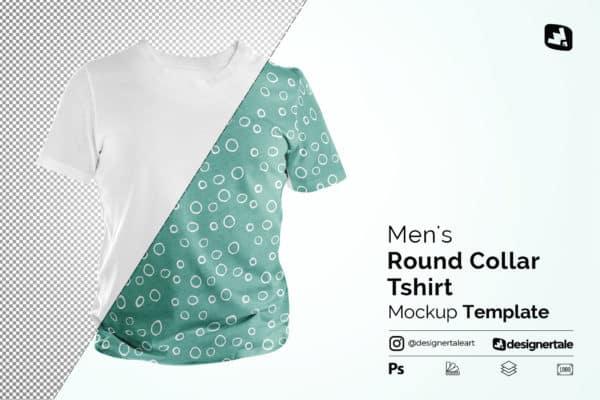 Mens Round Collar T-shirt Mockup