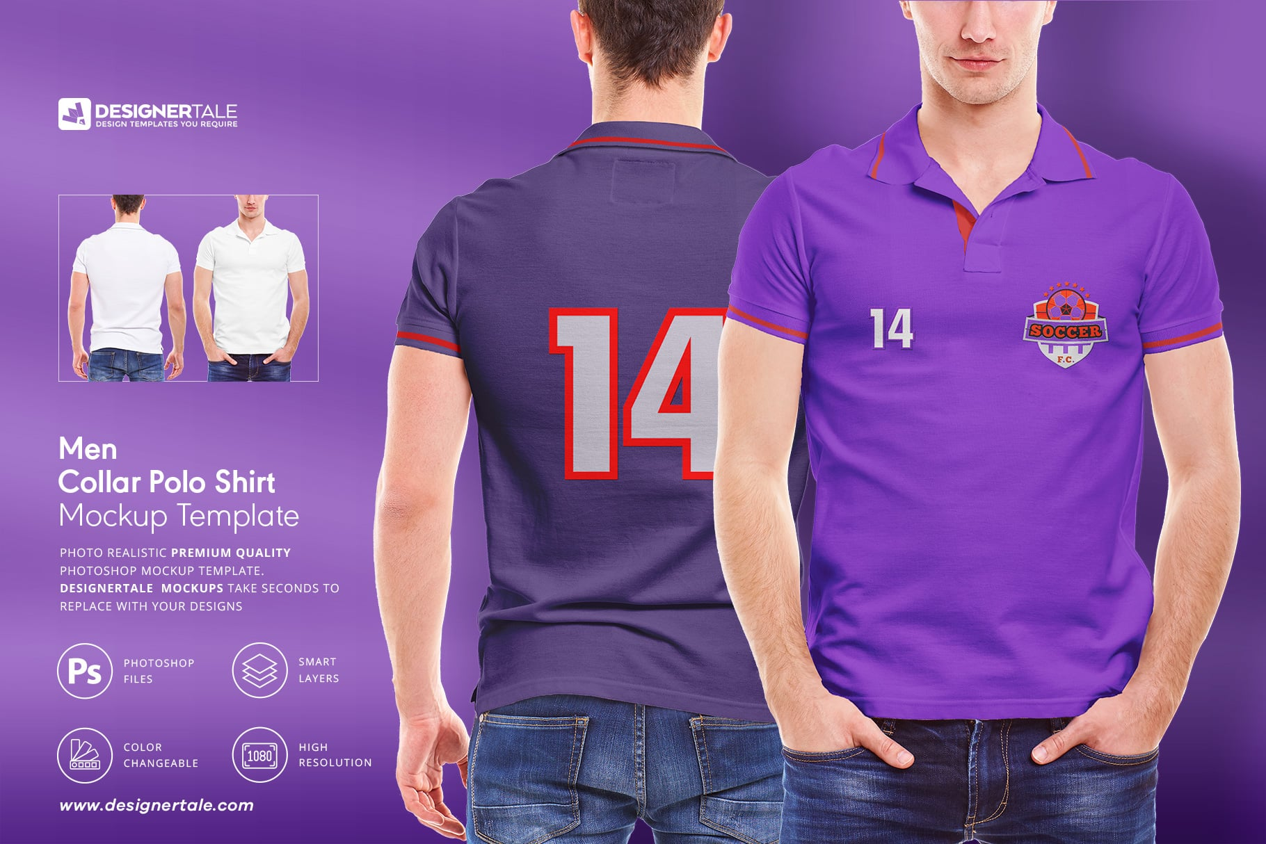 Men Collar T-Shirt Mockup Template