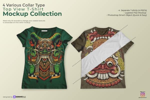 Multiple Collar Type T Shirt Mockup