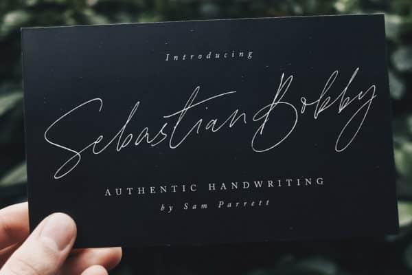 Sebastian Bobby Handwritten Font Wedding Invitation