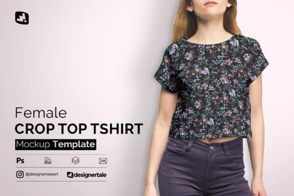 Female Crop Top T-shirt Mockup