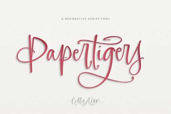 Paper Tigers Script + Floral Elements Wedding Invitation Font