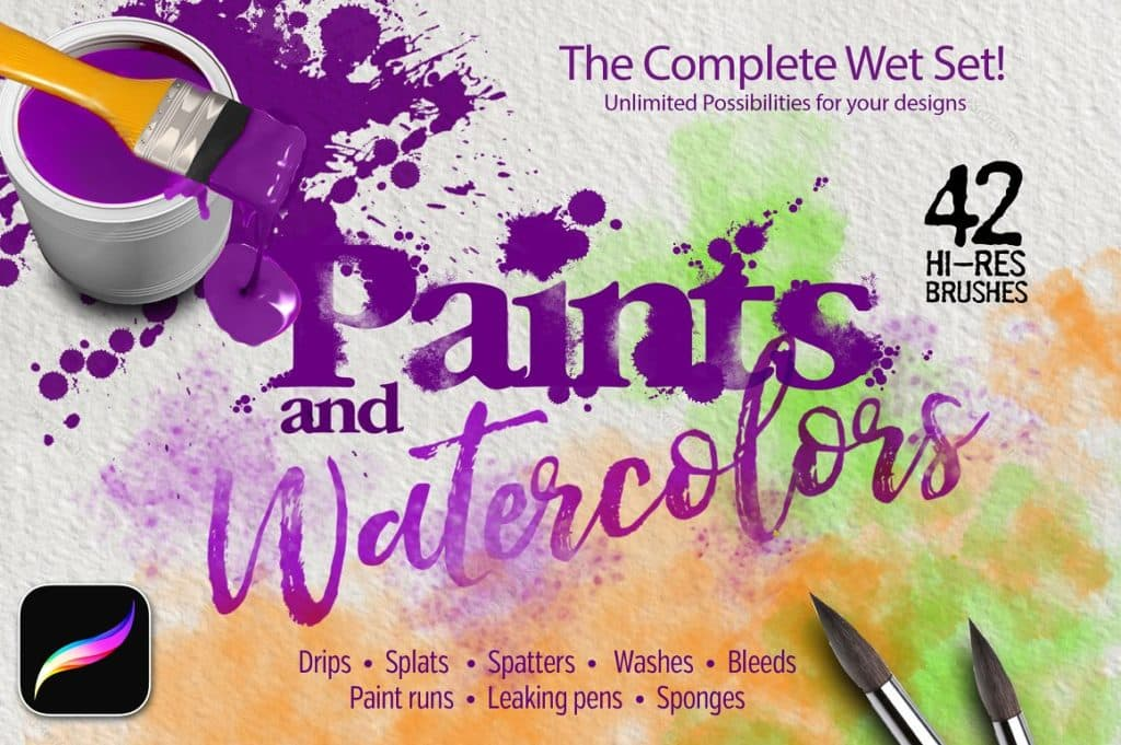 42 Paint & Watercolor Brushes