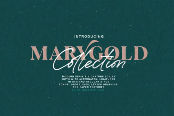 Marygold Font Duo Collection Wedding Invitation Font