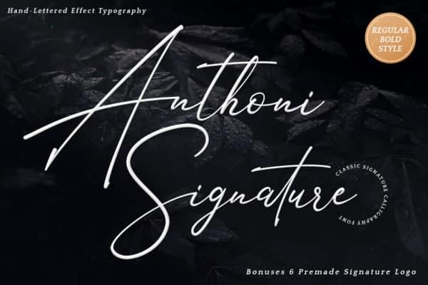 Anthoni Signature Font wedding Invitation