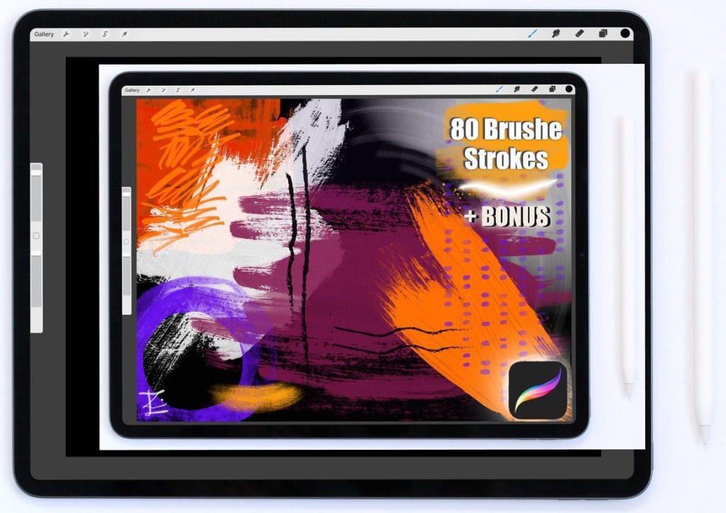 80 Splatters:Strokes for Procreate