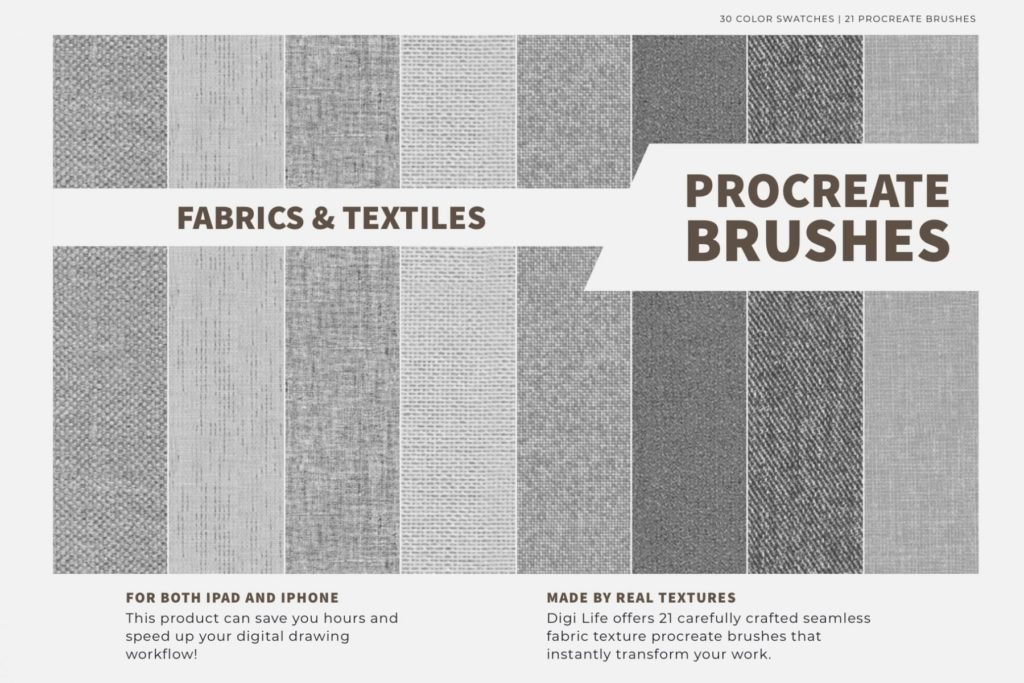 Fabrics & Textiles Procreate Brushes & Color Palette