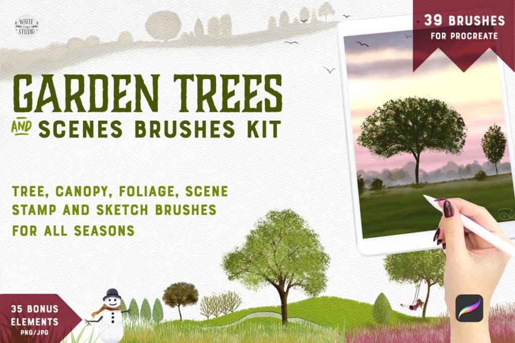 Garden Trees + Scenes Procreate Kit