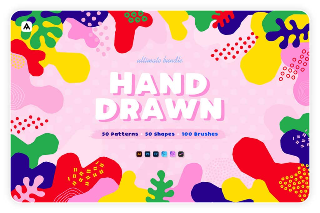 Hand-drawn Seamless Patterns, Shapes & Brushes