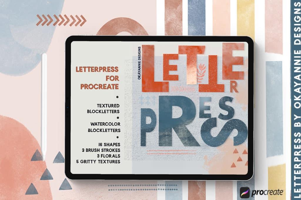LetterPress Brushes for Procreate
