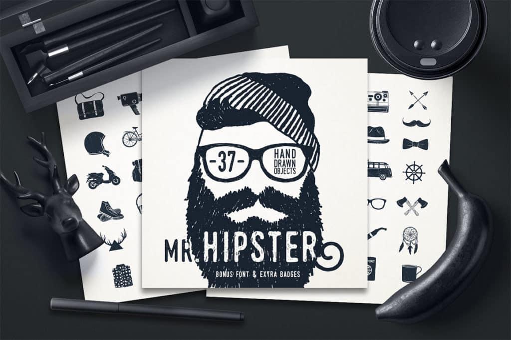 Mr.Hipster 37 Hand Drawn Objects + Bonus