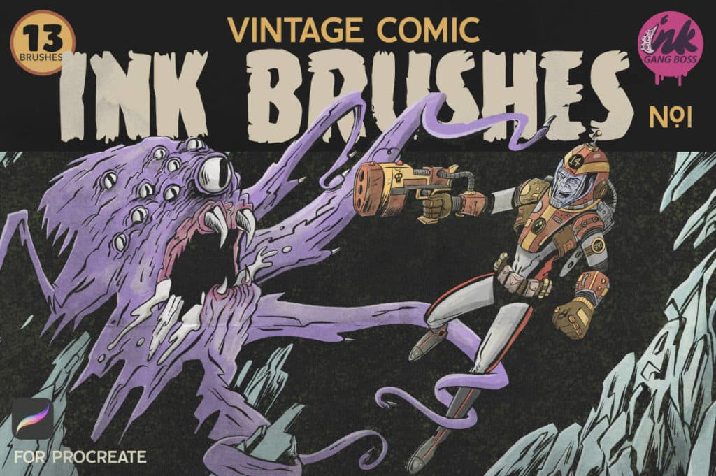 Procreate Vintage Comic Ink Brushes