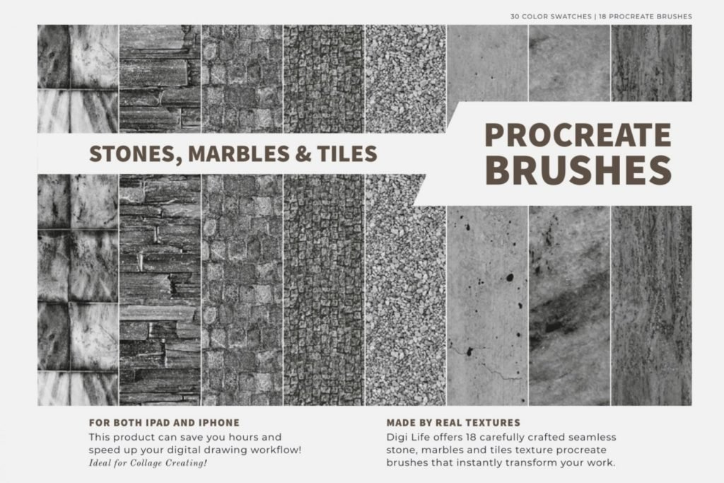 Stones, Marbles & Tiles Procreate Brushes & Color Palette
