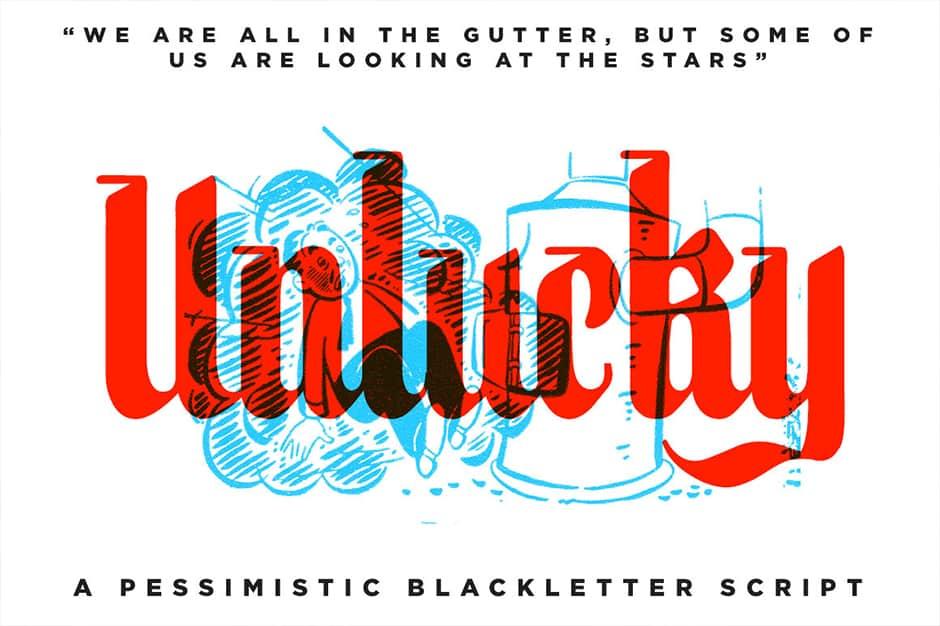 Unlucky – BlackLetter Script Font