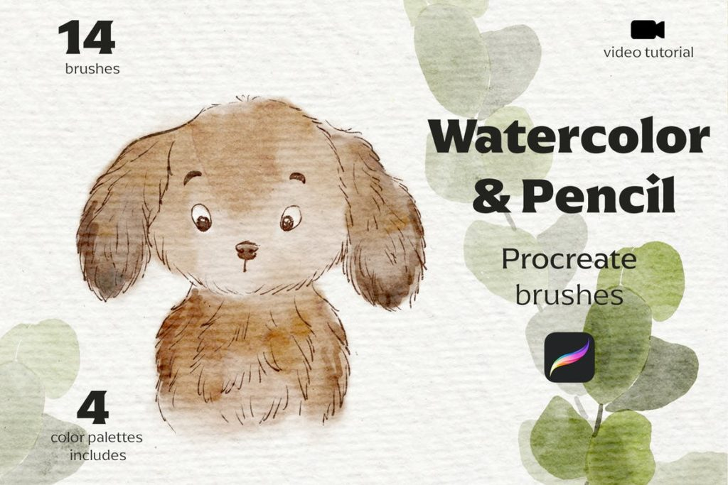 Watercolor and Pencil Procreate brushes