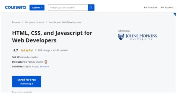 Coursera - HTML, CSS and Javascript for web developers