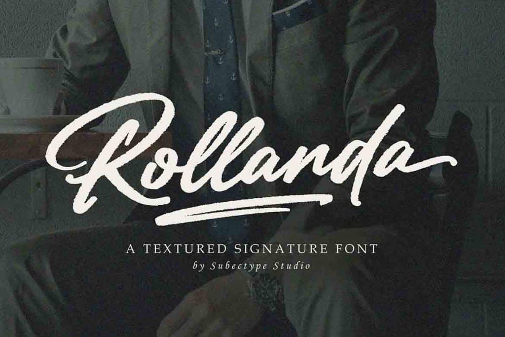 Rollanda - Textured Signature Font