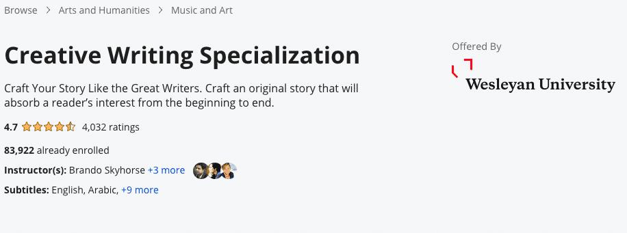 Creative Writing Specialization
