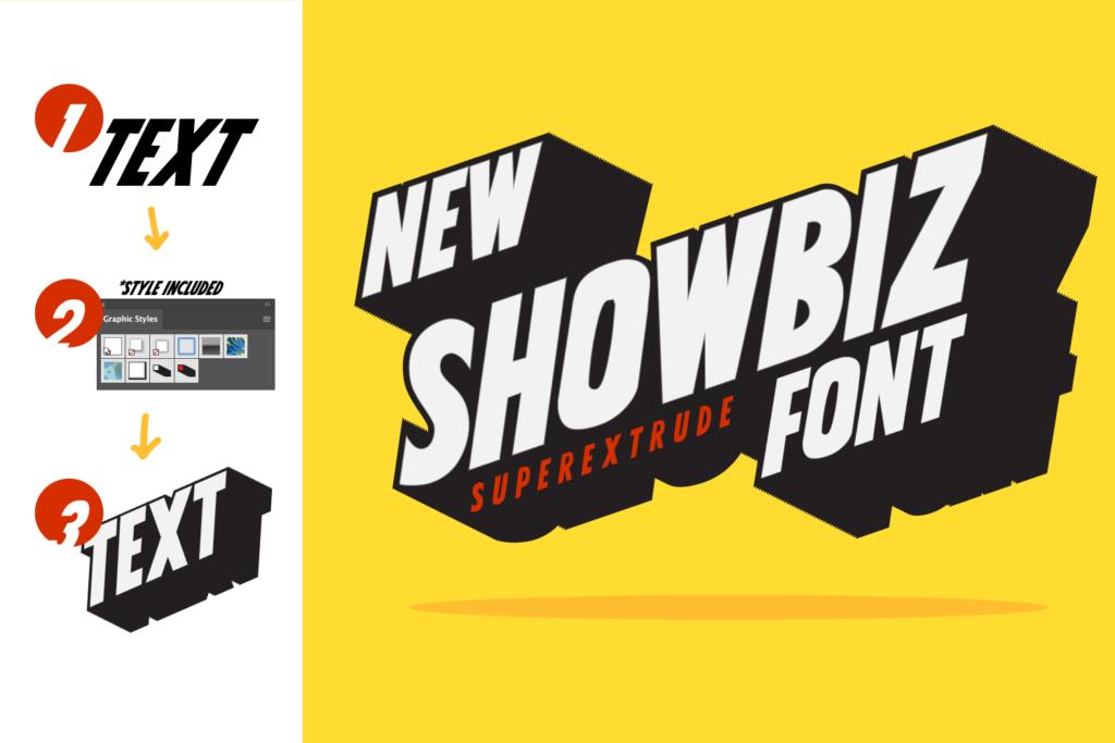 Showbiz, sharp fancy headline font