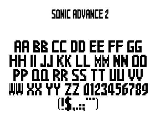 Sonic Advance 2 — The Wreck-It-Ralph font