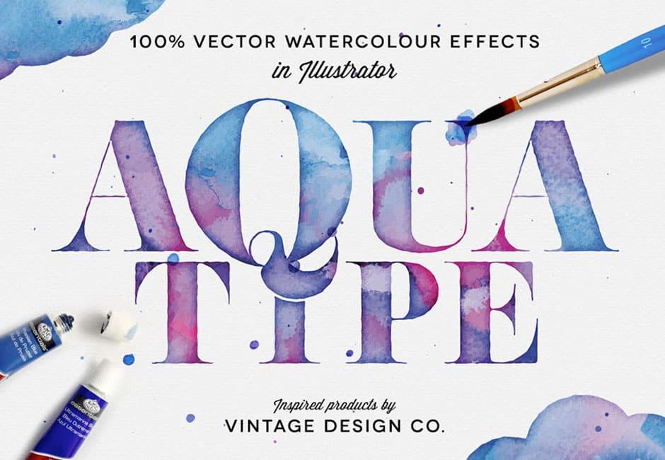 AquaType – Vector Watercolor Effects
