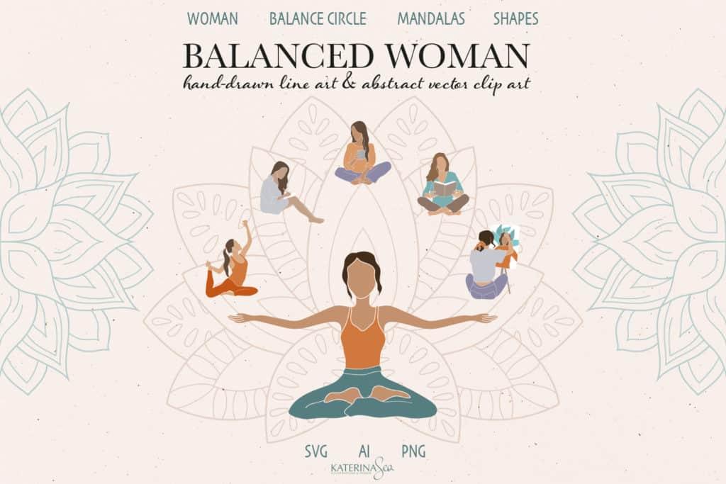 Balance Woman and Mandala Abstract Vector Clip Art