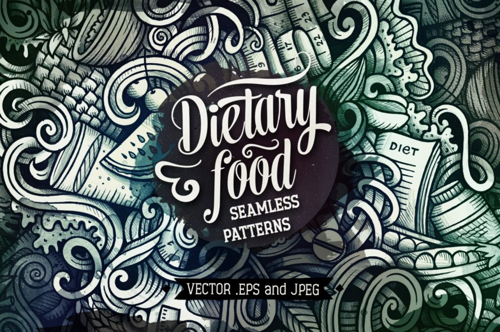 Diet Food Graphics Doodle Seamless Patterns