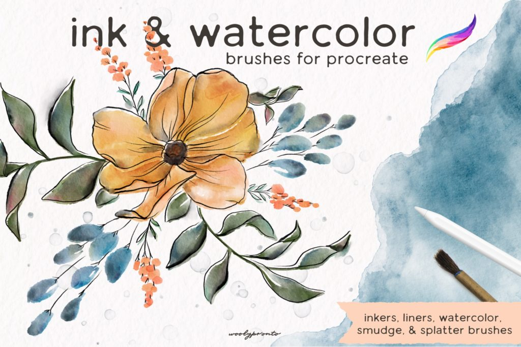 Ink Watercolor Brushes for Procreate